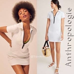 NWT ANTHROPOLOGIE SOLID & STRIPED POLO ZIP DRESS S